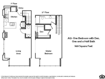 A12 1 Bed 1.5 Bath Floorplan at Pacific Place, Daly City, CA