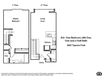 A13 1 Bed 1.5 Bath Floorplan at Pacific Place, Daly City 94014