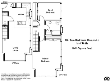 B3 2 Bed 1.5 Bath Floorplan at Pacific Place, 94014