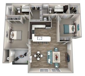2 bedroom 2 bath Baldwin Floor Plan at Hearth Apartment Homes, Vancouver, Washington