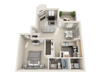 One Bedroom A1 Floor Plan at Village at Desert Lakes