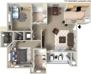 B2 2 Bedroom 2 Bath Floor Plan at Waterstone