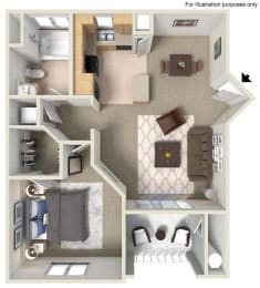 A Floor Plan, at Missions at Sunbow Apartments, 5540 Ocean Gate Lane