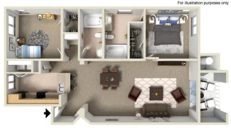 B Floor Plan, at Missions at Sunbow Apartments, 5540 Ocean Gate Lane, CA