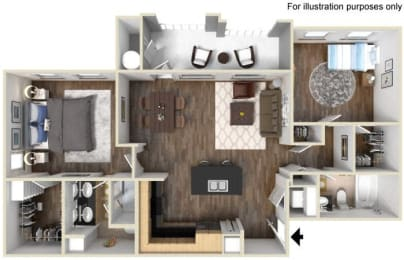 40b - 2x2 Floor Plan, at Tavera, 1465 Santa Victoria Rd, CA
