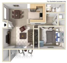 Monaco Floorplan One Bedroom One Bath