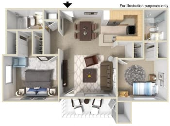 San Remo Floorplan Two Bedroom Two Bath