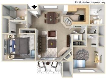 Saint Tropez Floorplan Two bedroom Two Bath