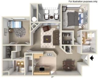 C- Mannheim 1,040 SF Floor Plan, at Casoleil, San Diego, 92154