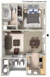 1 x 1 Floor plan, at The Landing, San Diego, CA