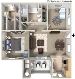 2 x 2 B Floor plan, at The Landing, 455 Dennery Rd, CA