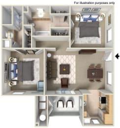 2 x 2 C Floor plan, at The Landing, San Diego, 92154