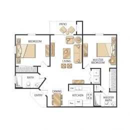Plan C - Two Bedrooms - Renovated Floor Plan, at Altair, 1361 W 9th Ave, CA
