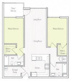 B-1 Floor plan, at Parc One, Santee, 92071