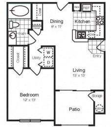 Floor Plan A 706 SF San Diego RENOVATED