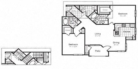Floor Plan D 1,249 SF San Luis RENOVATED