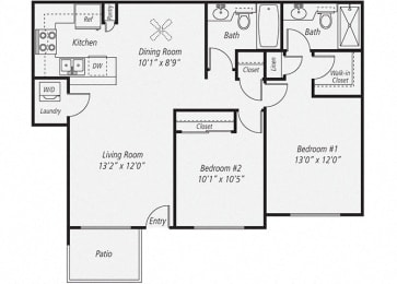 Two Bedroom/Two Bath Renovated Floor plan, at Park Pointe, El Cajon, 92019