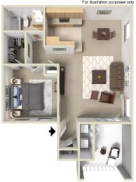 B 1X1, 3d Floorplan, at Sunbow Villas, 750 Paso De Luz, CA