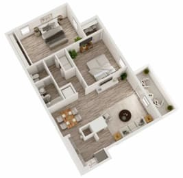 Two bedroom, one and a half bathroom apartment home 3D floor plan at Berry Falls Apartments, Vestavia Hills, Alabama