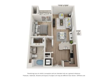 Main Street Village Irvine, CA Stanislaus Floor Plan 678 SF