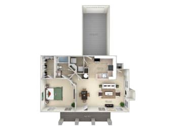 The Augustine Northlake Park 1 bedroom 1 bath floor plan furnished apartment in Orlando FL