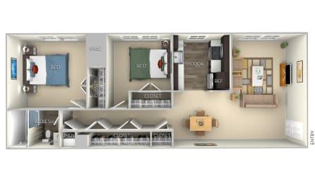 Berkley Dulles Glen 2 bedroom 1 bath furnished floor plan apartment in Herndon VA