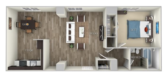 Bryant Columbia Uptown 1 bedroom 1 bath furnished floor plan apartment in Columbia Heights Washington DC