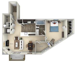 Cambridge Kensington Place 1 bedroom 1 bath furnished floor plan apartment in Woodbridge VA