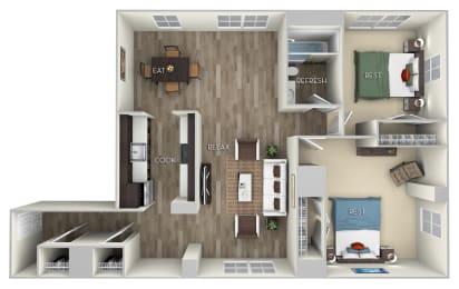 Fairmont Columbia Uptown 2 bedroom 1 bath furnished floor plan apartment in Columbia Heights Washington DC