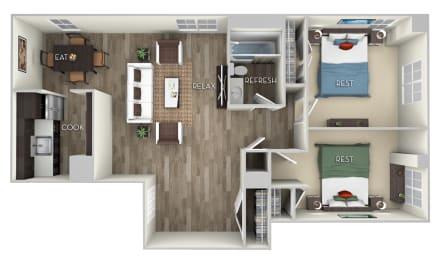 Howard Columbia Uptown 2 bedroom 1 bath furnished floor plan apartment in Columbia Heights Washington DC