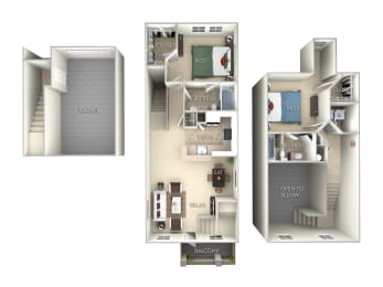 The Glades Townhome Northlake Park 2 Bedroom 2 bath floor plan furnished townhome in Orlando FL
