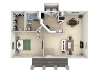 The Madeira Northlake Park 1 bedroom 1 bath floor plan furnished apartment in Orlando FL