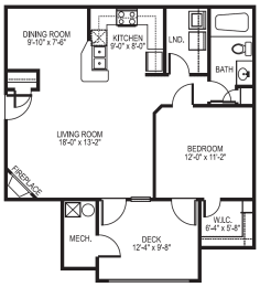 Reef phase I 1 bedroom 1 bath floor plan  at Village on the Lake Apartments in Spring Lake NC
