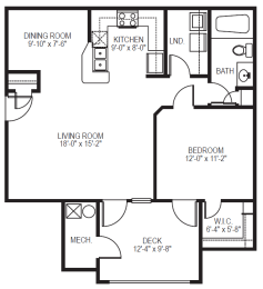 Cove phase II 2 bedroom 2 bath with sunroom floor plan at Village on the Lake Apartments in Spring Lake NC