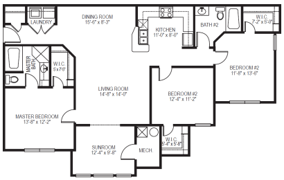 Promenade phase II 3 bedroom 2 bathroom with sunroom at Village on the Lake Apartments in Spring Lake NC