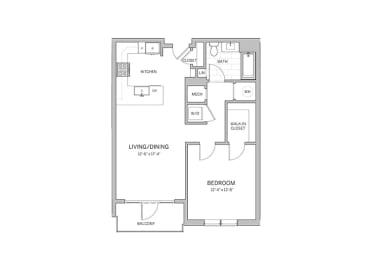 1 Bedroom - a9 Floor Plan  at AVE Blue Bell, Pennsylvania, 19422