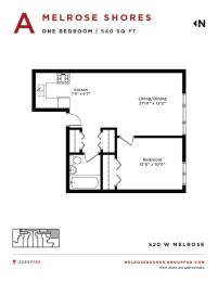 Melrose Shores - One Bedroom Floorplan A