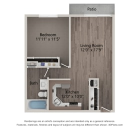 Lily One Bedroom One Bathroom Floor Plan  at Willow Crossing, Illinois