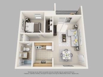 Wicklow Square 1 Bedroom 1 Bathroom 3D Floor Plan
