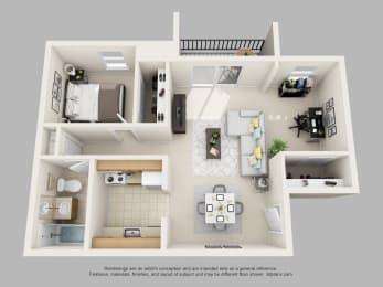 Wicklow Square 1 Bedroom 1 Bathroom with Den 3D Floor Plan