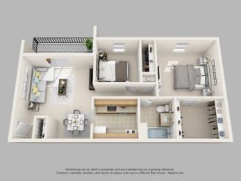 Wicklow Square 2 Bedroom 1 Bathroom 3D Floor Plan