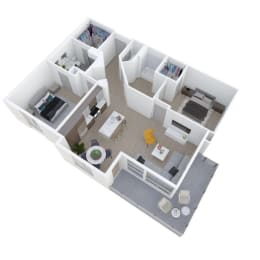 Two Bed Two Bath Floor Plan at The Q Variel, California, 91367