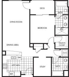 Floor Plan  Horizons at Calabasas 1Bed 2Bath + Study Plan A Floorplan