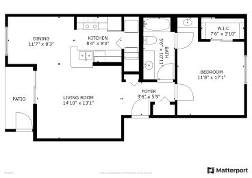 Floor Plan 1 Bed, 1 Bath A60