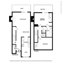 Floor Plan 2 Bed, 1.5 Bath Townhome TH1
