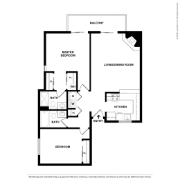 Floor Plan 2 Bed, 2 Bath B2