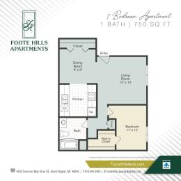One Bedroom 750 Floor Plan at Foote Hills, Grand Rapids, MI