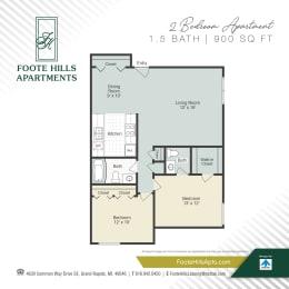 Two Bedroom 900 Floor Plan at Foote Hills, Michigan