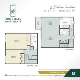 Two Bedroom 968 Floor Plan at Foote Hills, Michigan, 49546