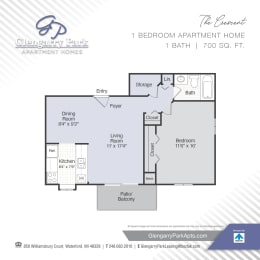 One Bed One Bath Floor Plan at Glengarry Park, Waterford, MI